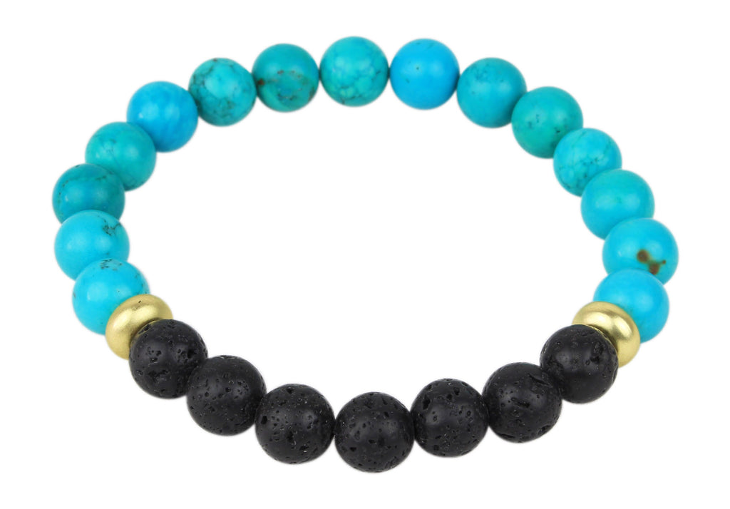 Turquoise and Lava Rock Beaded Bracelet