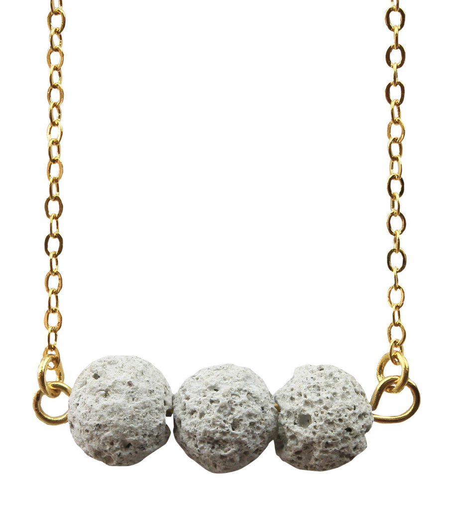 Floating White Lava Rock Essential Oil Necklace Diffuser