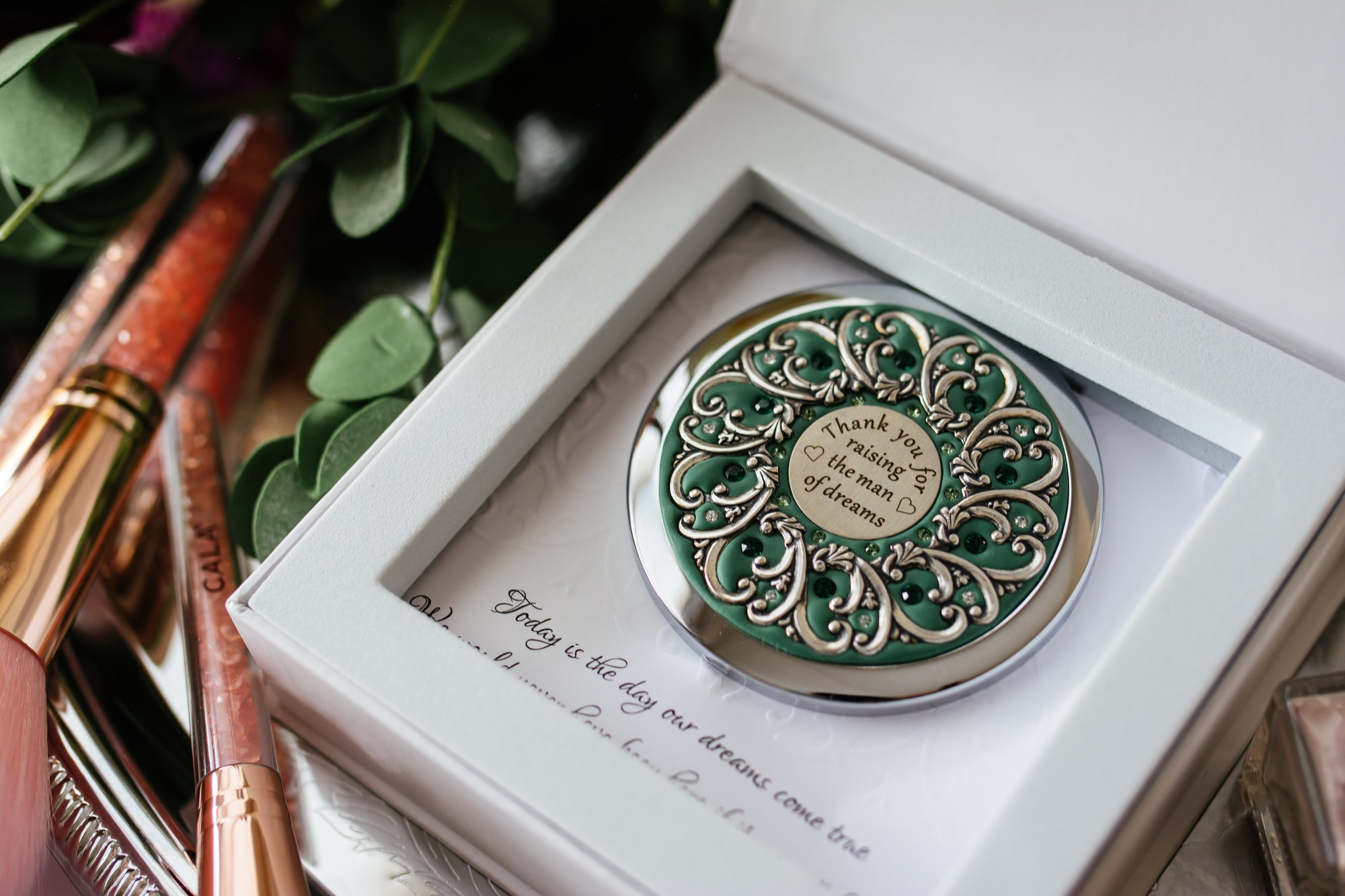 """Thank you for raising the man of dreams"" Compact Mirror"