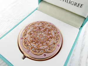 Crystal Cluster Rose Gold Pill Box