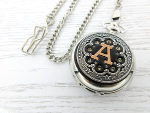 Personalized Silver and Rose Gold Pocket Watch