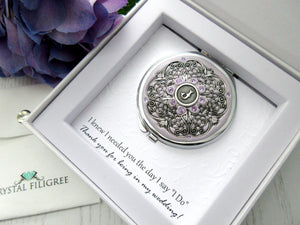 Personalized Compact Mirror in Silver with Gift Box and Card