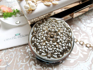 Gold and Silver Filigree Compact Mirror