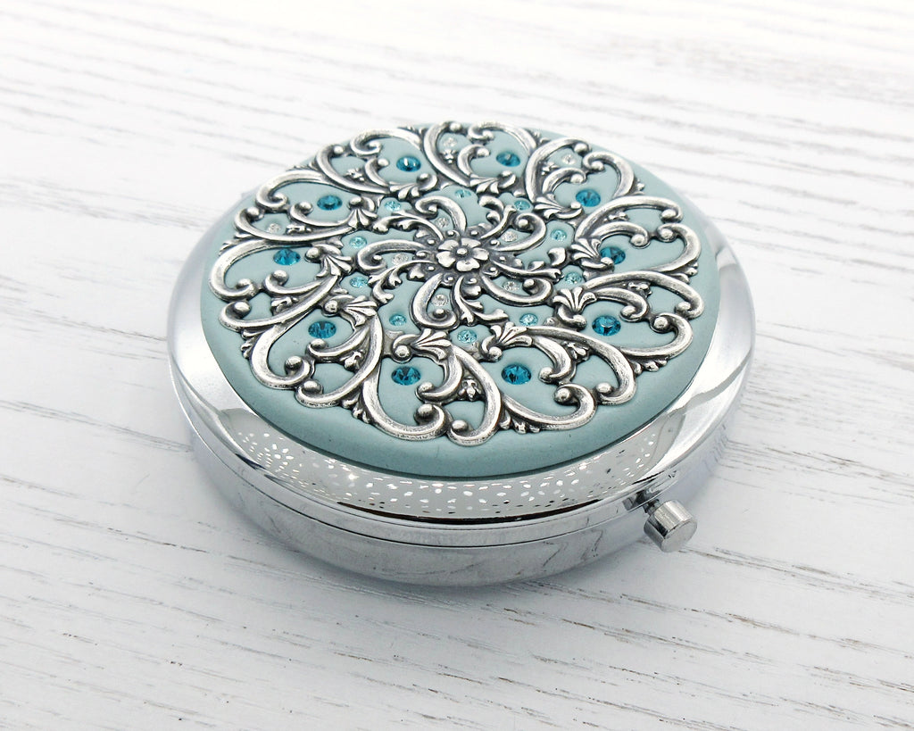 2-in-1 Compact Mirror Pill Box