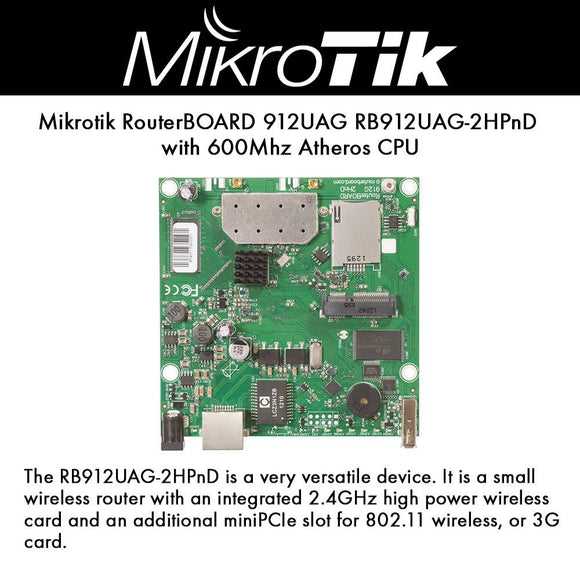 Mikrotik RouterBOARD 912UAG Built-in 2.4GHz 802.11b/g/n 2x2 Dual Chain Wireless Radio