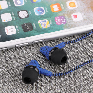 3.5mm Fashion Design Nylon Braided Crack Earphone Cloth Rope Earpieces Stereo Bass Music Headset for Cellphone MP3 MP4