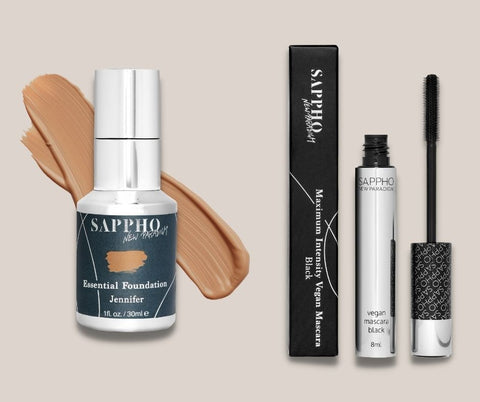 Jennifer Beals' two favorite products from clean makeup brand SAPPHO, the Essential Foundation and the Vegan Mascara