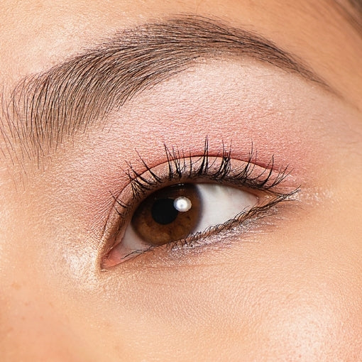 Light pink natural eyeshadow look on Asian eyes with best grey brow pomade and vegan mascara