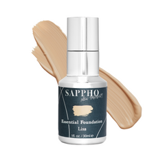 Essential organic foundation bottle with Lisa shade swatch
