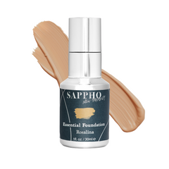 Essential organic foundation bottle with Rosalina shade swatch