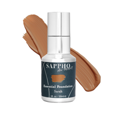 Essential organic foundation bottle with Sarah shade swatch