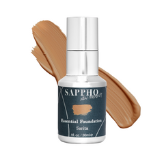 Essential organic foundation bottle with Sarita shade swatch