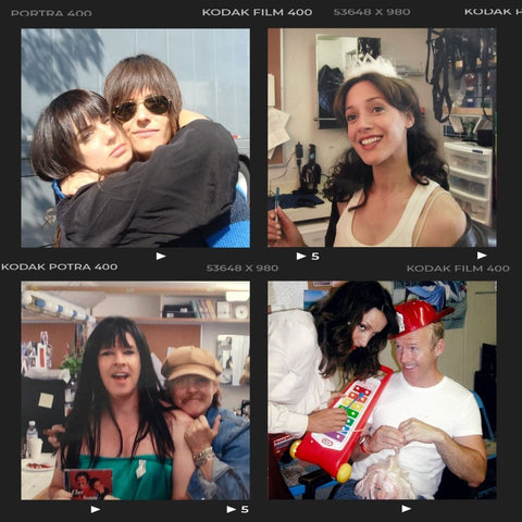 Film style memory collage, 4 old photos of actors and crew having fun in the hair & makeup trailer of The L Word