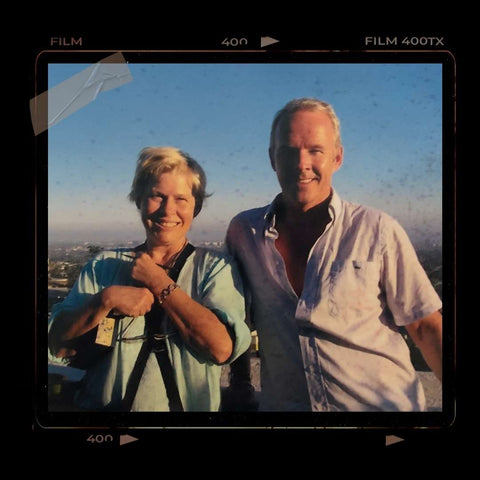 JoAnn Fowler (left) and Paul Edwards (right) on a rooftop in LA at sunrise