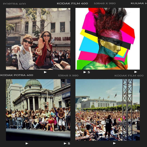 Image collage of Jennifer Beals at San Francisco Pride parade with a huge crowd, inspiring an iconic SAPPHO Pride makeup