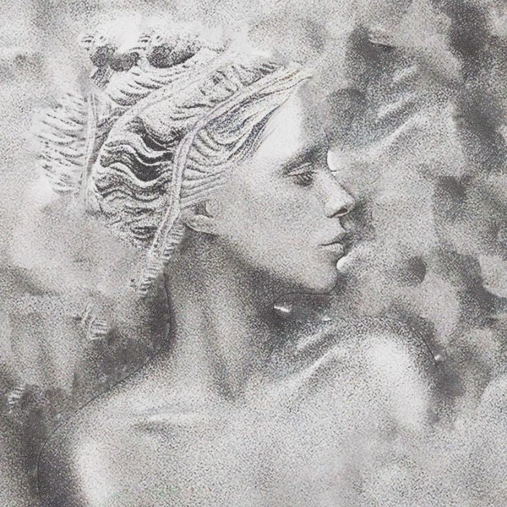 Sappho poet bust on textured sparkly silver background