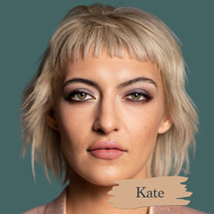 Medium skin model wearing Kate foundation shade for Essential natural foundation