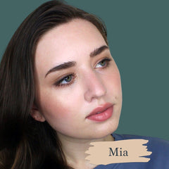 Very pale skin model wearing Mia foundation shade for Essential natural foundation