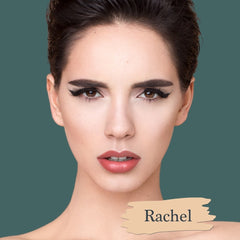 Pale light skin model wearing Rachel foundation shade for Essential natural foundation