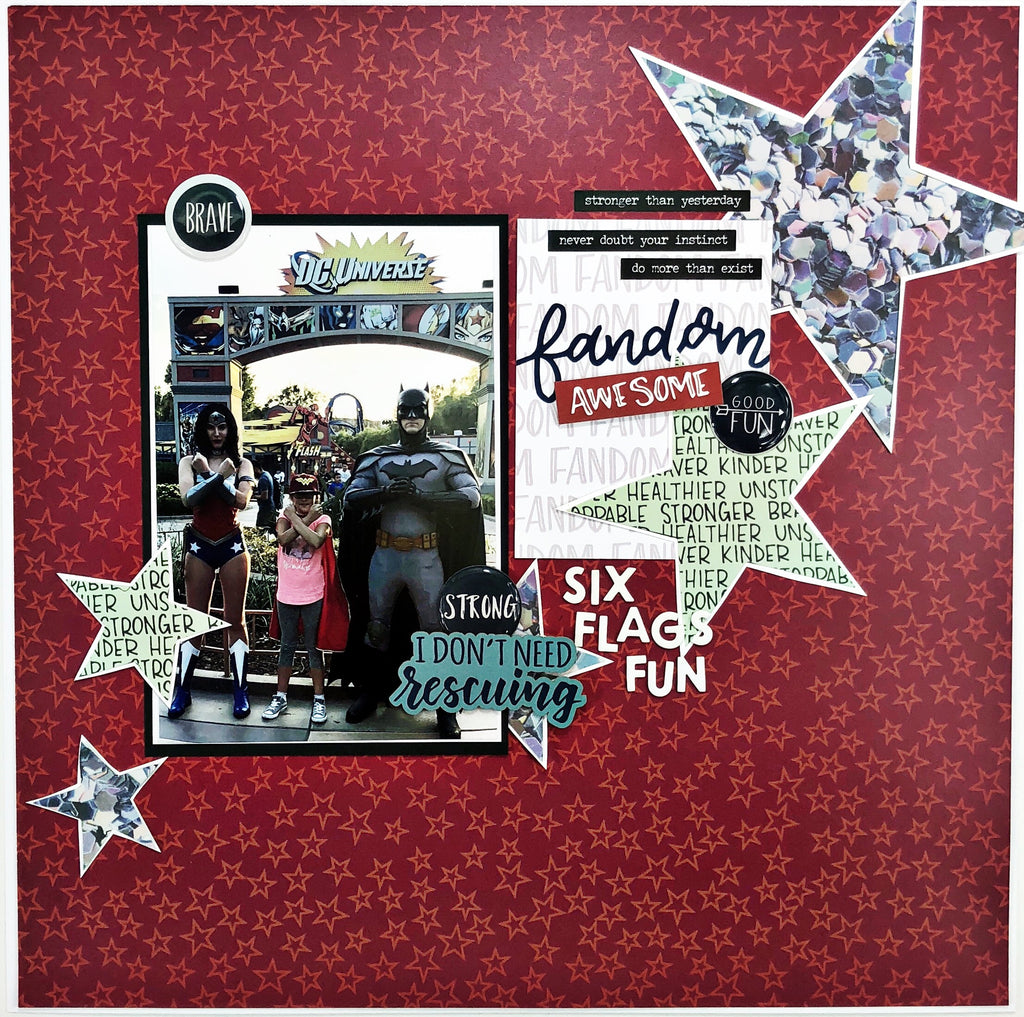 Six Flags Fun Scrapbook Page with Khristina