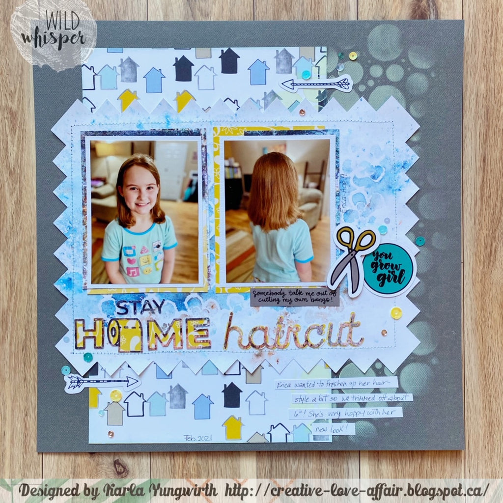 Stay Home Haircut Mixed Media Layout by Karla & Stencil Challenge!