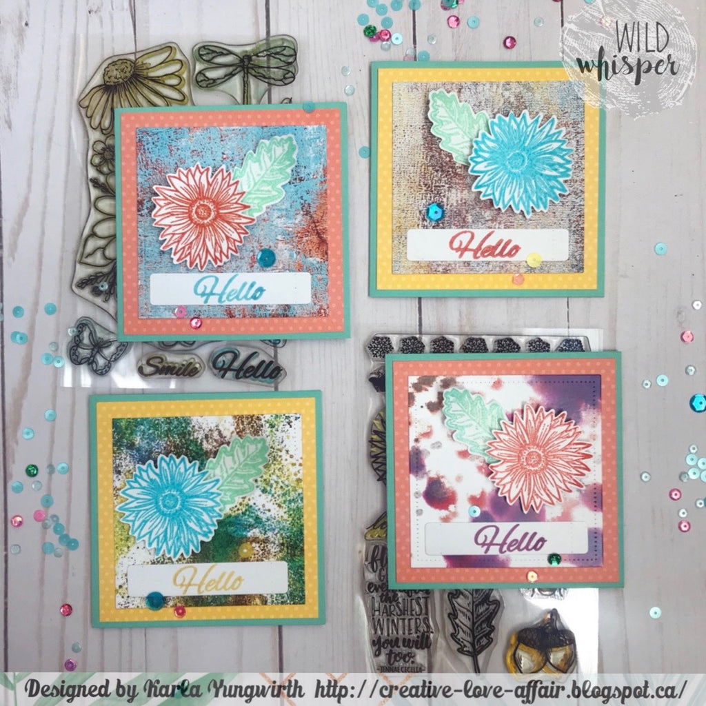 Mini Hello Flower Card Set by Karla