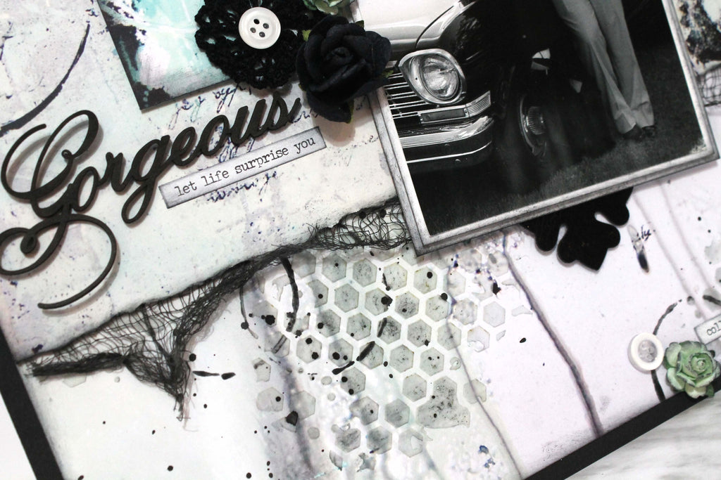 Gorgeous Mixed Media Layout by Tracy