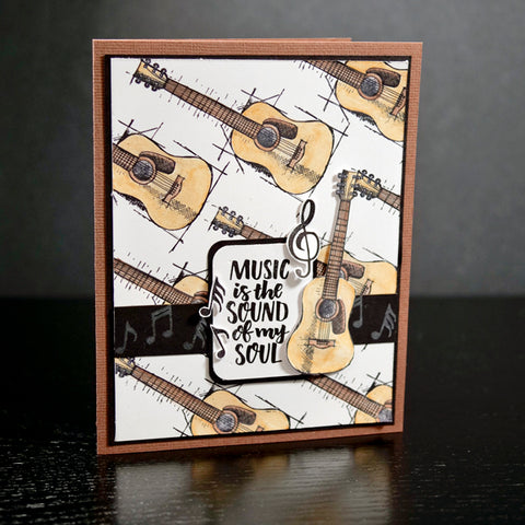 Guitar Card Using Watercolor Pencils and Wild Whisper Designs Feel the Beat Stamp Set