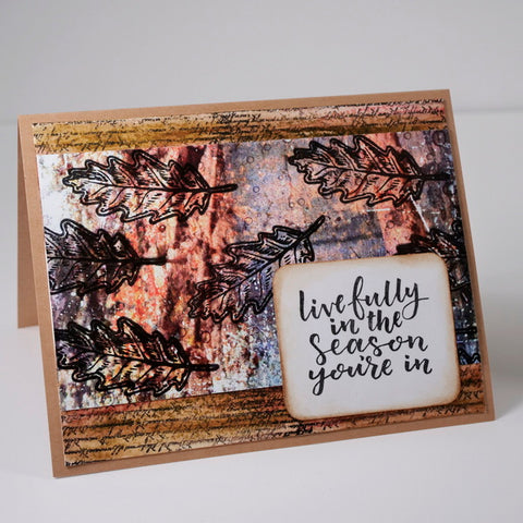 Mixed Media Fall Greeting Card Using Wild Whisper Designs Strength of the Season and Pam Bray Natures Bliss Collections