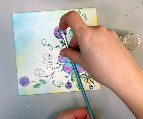 Adding in Winsor and Newton Iridescent Watercolor Medium to Easter Card