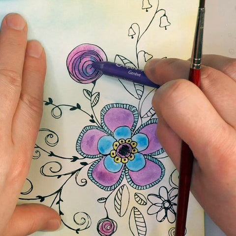Adding Caran d'Ache Neocolor ii watercolor crayon to Wild Whisper Designs Fanciful Floral Paper