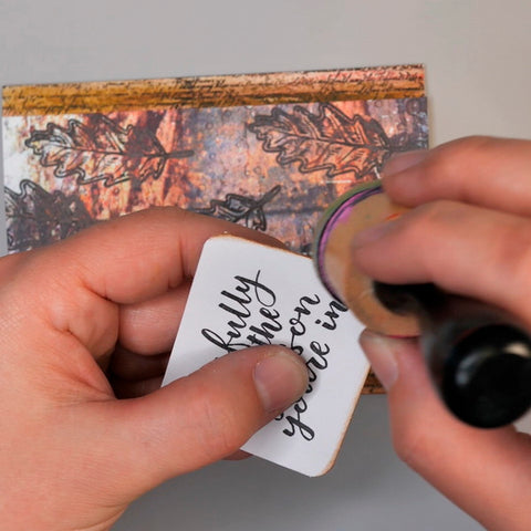 Adding Distress Ink Vintage Photo to sentiment from Wild Whisper Designs Strength of the Season Collection