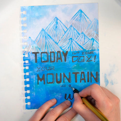 Adding hand lettering to art journal page