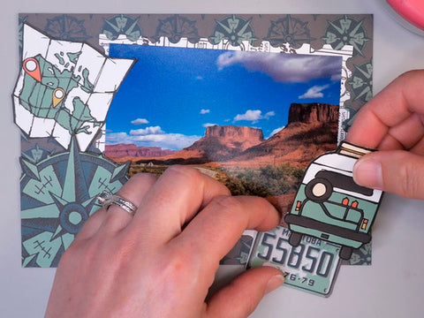 Arranging Elements Cut from Wild Whisper Designs Road Trip Collection onto a Card
