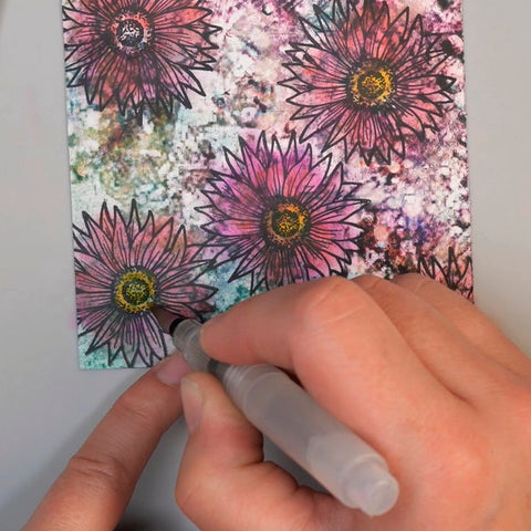 Adding Tim Holtz Distress Crayon Mustard Seed to Flower Centers and blending with water brush