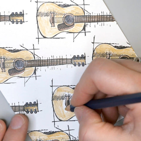 Coloring Guitar Images with Watercolor Pencils