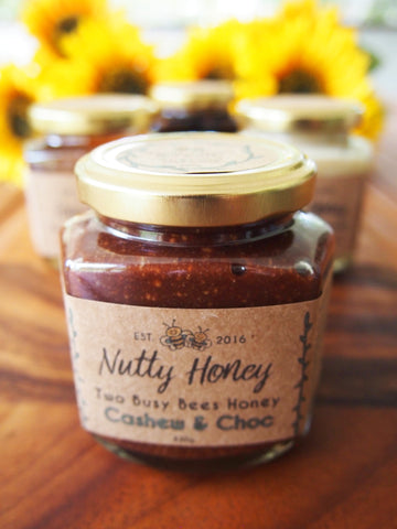 Two Busy Bees - Honey Chocolate Nut Butter with sunflowers