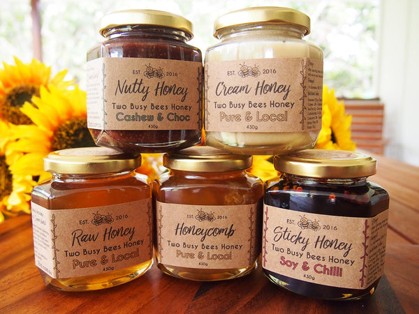 Two Busy Bees Honey gourmet glass jar range