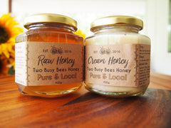 Raw honey and creamed raw honey from Two Busy Bees Honey