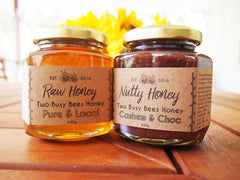 Raw honey and honey chocolate nut butter from Two Busy Bees Honey