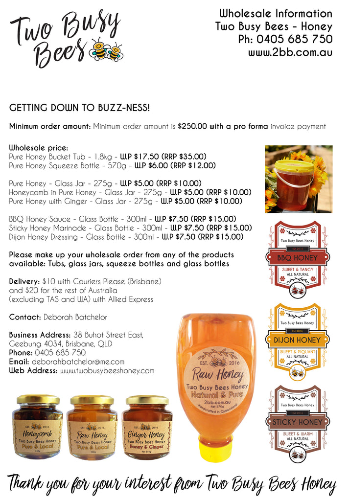 Wholesale information from Two Busy Bees Honey
