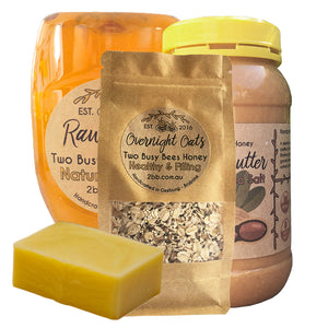 BreakfastBundle-PeanutButter-OvernightOats-Honey-Soap-TwoBusyBeesHoney