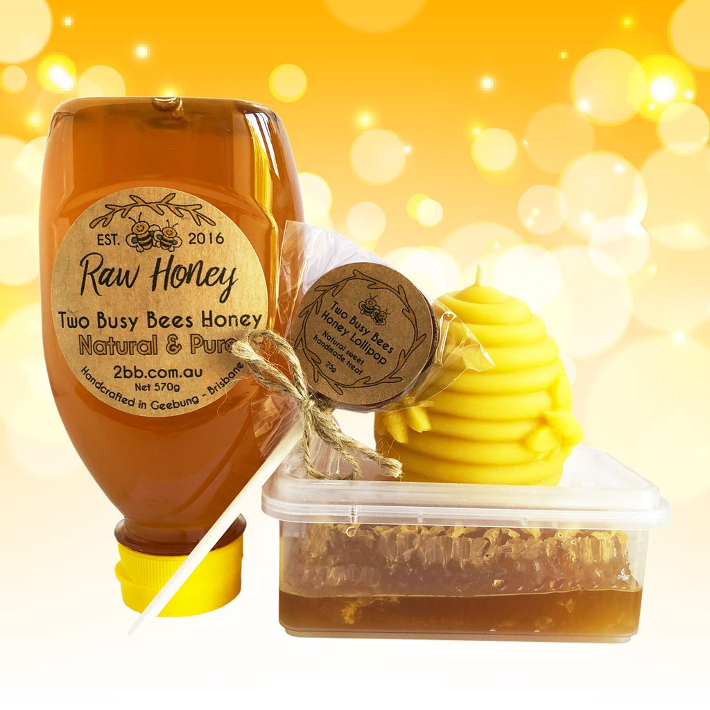 Honey-squeeze-bottle-honey-lollipop-beeswax-candle-honeycomb-slice-Two-Busy-Bees-Honey