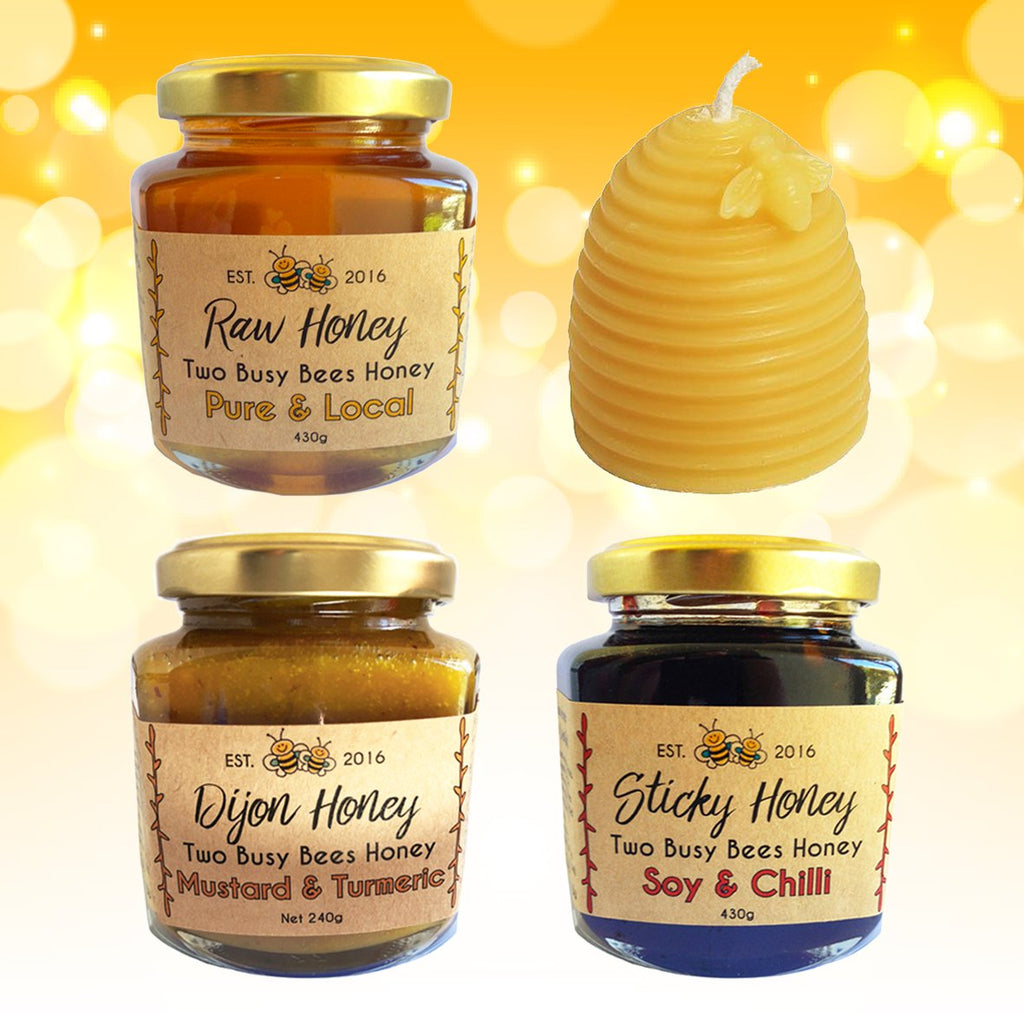Pure honey + sticky honey + dijon honey mustard + beeswax candle