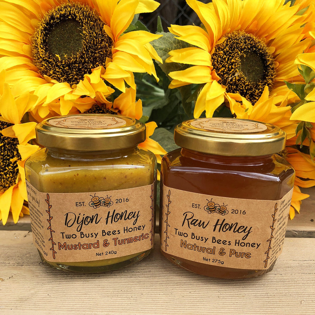Dijon-honey-mustard-and-pure-raw-honey-Two-Busy-Bees-Raw-Honey