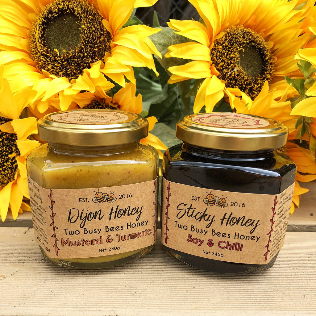 Dijon-honey-mustard-dressing-and-honey-chilli-soy-dressing-Two-Busy-Bees-Raw-Honey