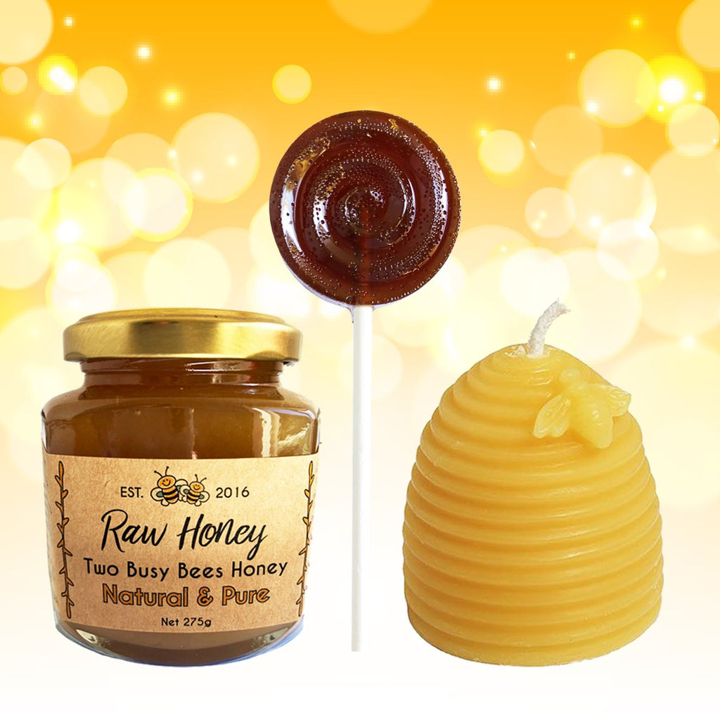 Crystallised Natural Honey - Honey Lollipop - Pure Beeswax Candle - Gift Set