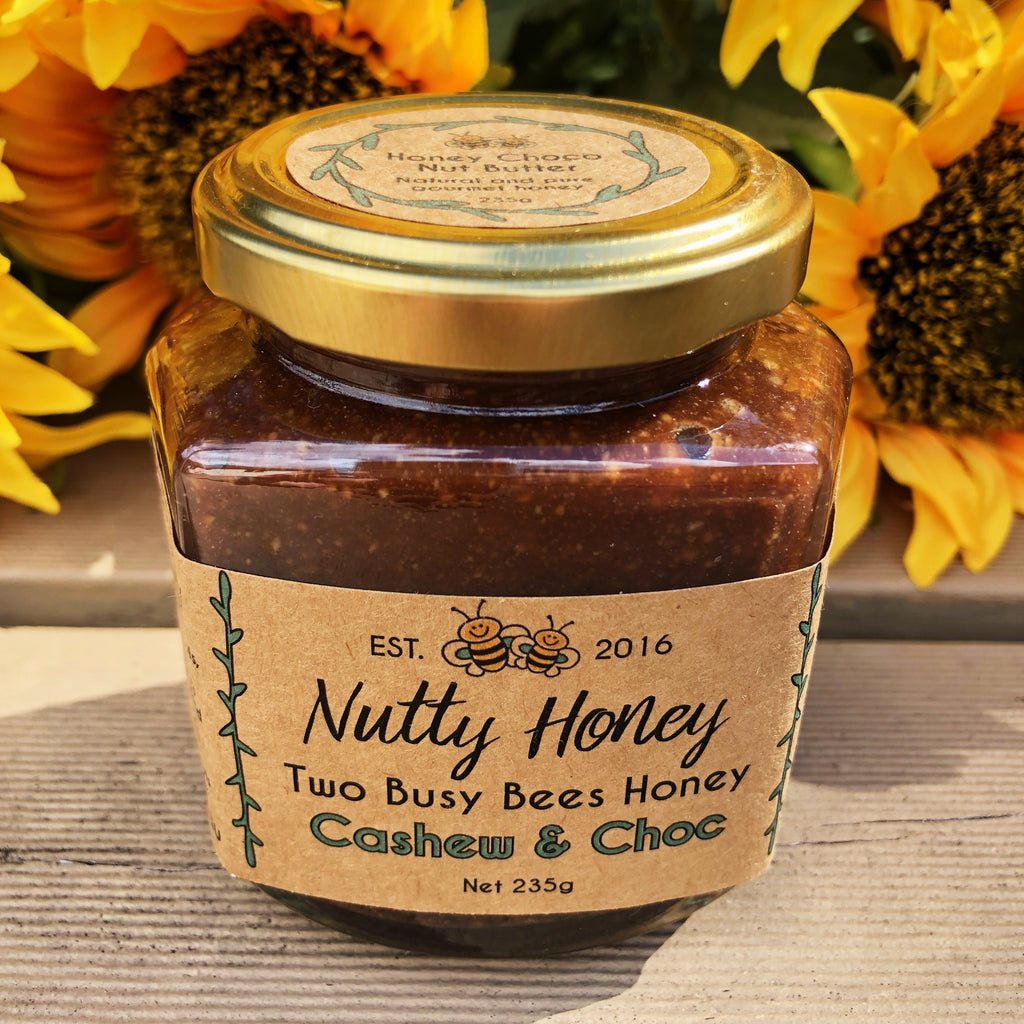 Raw-honey-90%-cocoa-chocolate-cashew-nut-butter-Nutty-Honey-Sunny-Sunflowers-Two-Busy-Bees-Raw-Honey