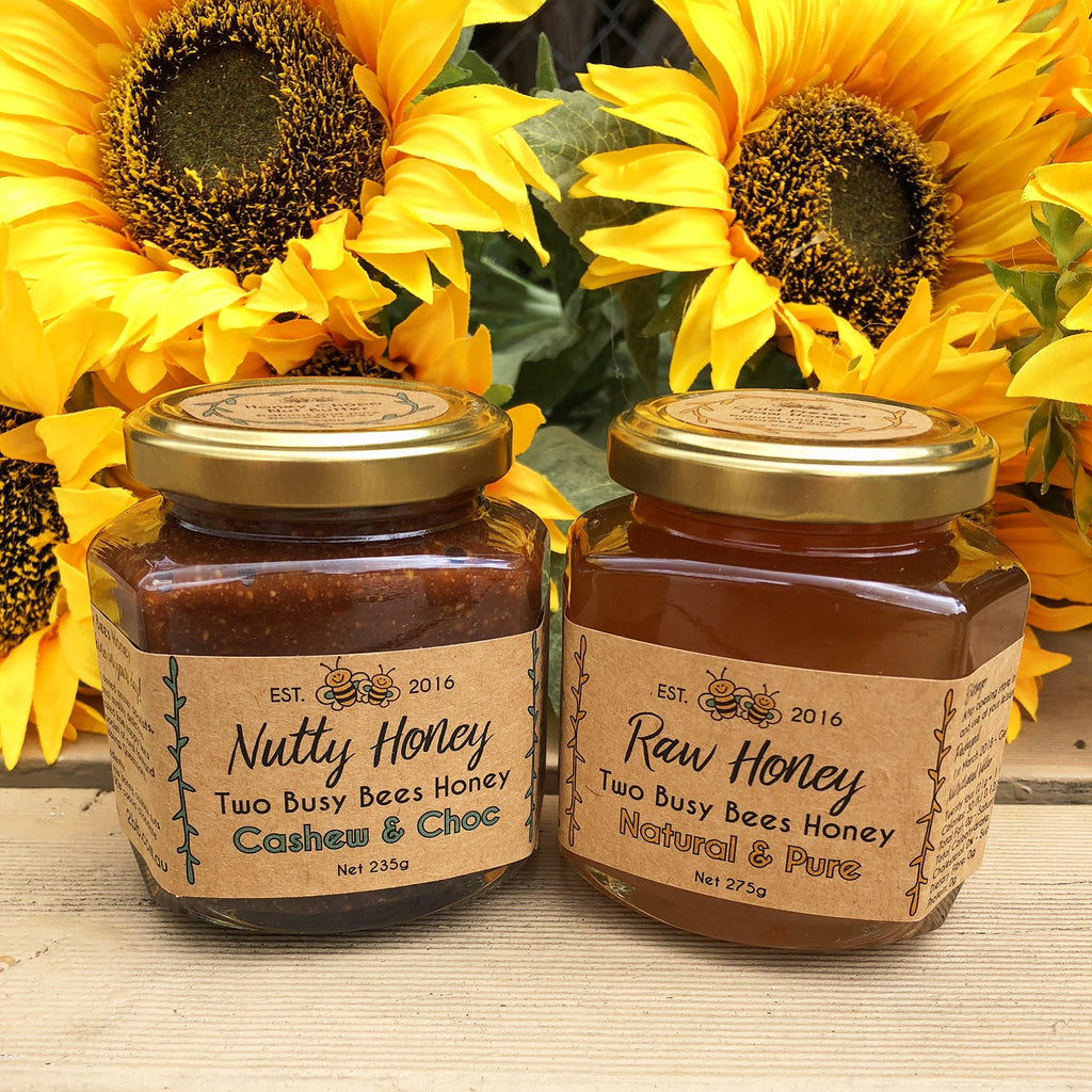 Honey-chocolate-nut-butter-and-pure-raw-honey-Two-Busy-Bees-Raw-Honey