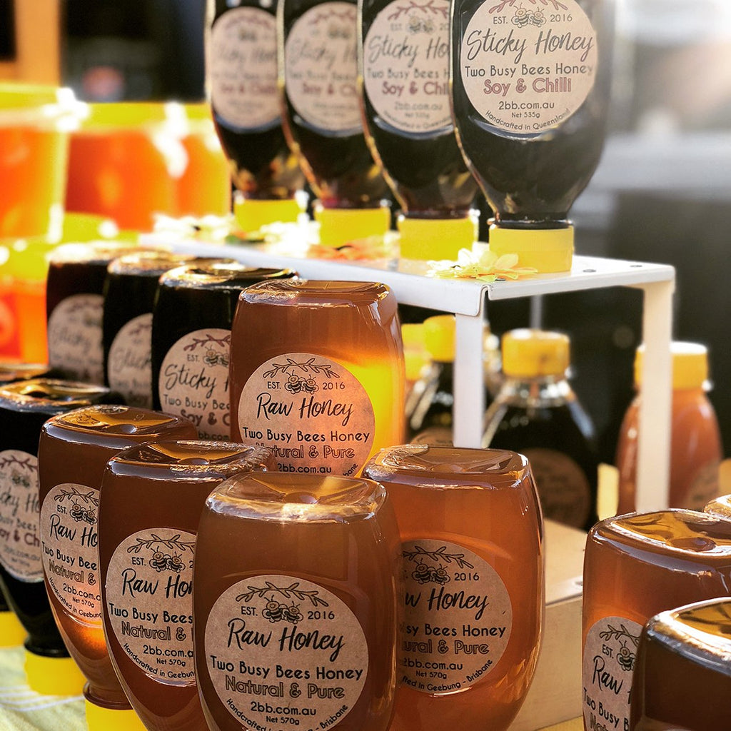 Sticky honey dressing and raw honey squeeze bottles | Two Busy Bees Raw Honey | Farmers Market